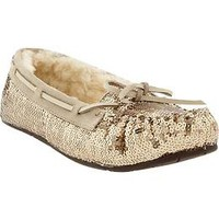 Women's Sequined Sherpa-Lined Moccasins | Old Navy