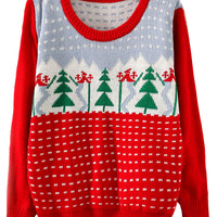 Red Long Sleeve Tree Print Knit Sweater - Sheinside.com