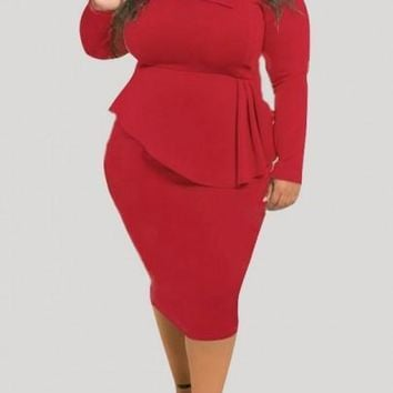 Red Draped Peplum Bowknot Long Sleeve Round Neck Plus Size Party Midi Dress