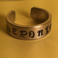 Doctor Who Inspired Cuff Ring - GERONIMO - aluminium - Hand Stamped - Custom Made