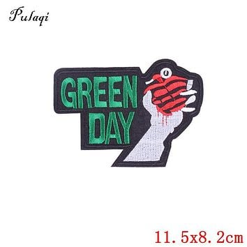 Pulaqi Green Day Embroidered Iron On Patches Sewing Applique Badge For Clothing Apparel Garment Decoration DIY Accessories D