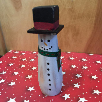 Reclaimed Wood Snowman / Wood Snowman / Handpainted Snowman / Reclaimed Wood / Wood Christmas Decoration / Snowman