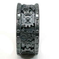 Gothic Steampunk Mens Black Silver Gear and Rivet Ring - Steam Punk - Handmade