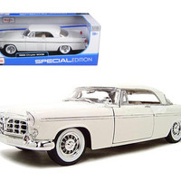 1956 Chrysler 300B Diecast Model White 1-18 Die Cast Car By Maisto