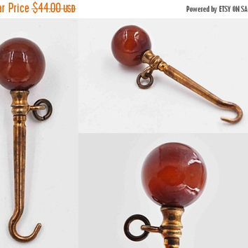 ON SALE Antique Victorian Red Agate Sphere Button Hook, Gold Washed, Petite, Chatelaine, Glove Hook, Shoe Hook, War Reenactor, Nice! #b795