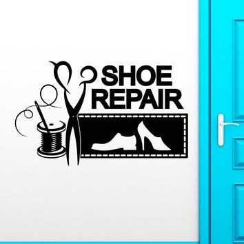 Vinyl Wall Decal Shoe Repair Logo Signboard Threads Needle Stickers (2637ig)
