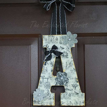 Monogram Wreath, Initial wreath, Vintage style hanging Monogram Custom Monogram Monogram Door Hanger Wall Hanging Personalized