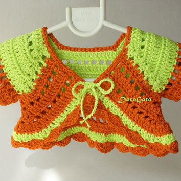 Baby Crochet Shrug, Baby Bolero, Baby Sweater, Baby Girls Ruffle Bolero, Photo Prop, handmade baby shower gift, crochet baby cardigan