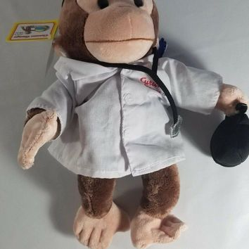 "Applause CURIOUS GEORGE Monkey DOCTOR 11"" Plush Stethoscope Bag Stuffed Animal"