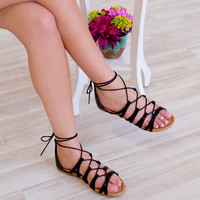 Merry Lace Up Sandals - Black