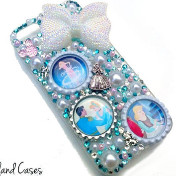 Custom Cinderella Phone Case iPhone Bling Phone Case Cover Rhinestone Phone iPhone 6 5 5S Samsung S5