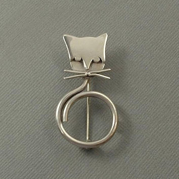 Vintage Modernist STERLING Silver CAT Brooch Mexican Taxco Figural Pin MEXICO Silver Minimalist Brooch Hallmarked c.1970's