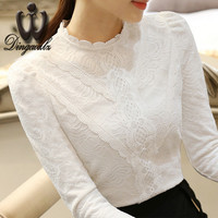 Women clothing Korean elegant female long-sleeved lace shirt solid color casual lady lace tops fashion women blouse