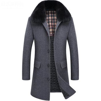 Long Fox Fur Collar Winter Coat Men Thick Warm Single Breasted Men's Winter Jackets