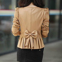 New Womens Slim Fit Business Double-breasted Puff Sleeve Suit Blazer Jacket Coat