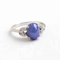 Vintage 14k White Gold Created Sapphire Star & Diamond Ring - Size 6 Blue Synthetic Gem Cabochon Asterism Fine Jewelry