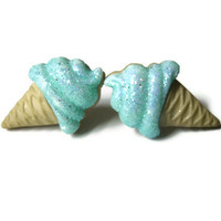 Ice Cream Cone Stud Earrings, Sparkly Mint Green, Food Jewelry, Summer Fashion, Hypoallergenic Option