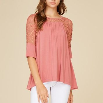Mary Mauve Lace Top