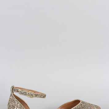 Bamboo Glitter Encrusted Pointy Toe Ankle Strap Dorsay Flat