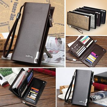 Business Men's Wallets Solid PU Genuine Leather Long Zipper Wallet Portable Cash Purses Casual Standard Wallets Male Clutch Bag