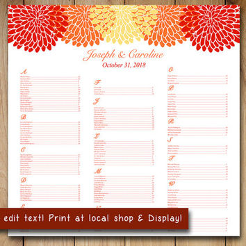 Chrysanthemum Wedding Seating Chart Template | Floral Seating Chart Word Template | Orange Red Yellow You Print 22x22 Fall Wedding Download