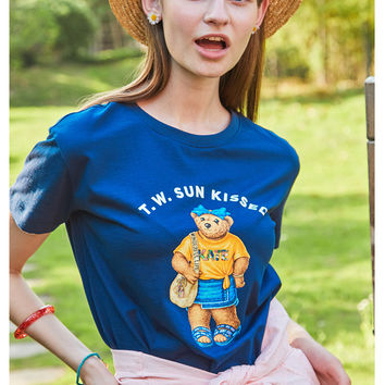 2017 summer college, trendy youth, fashion cute, cartoon printed T-shirts, T-Shirts
