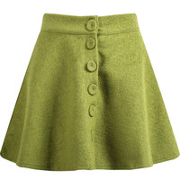 Green Buttons Flare Pleated Skirt
