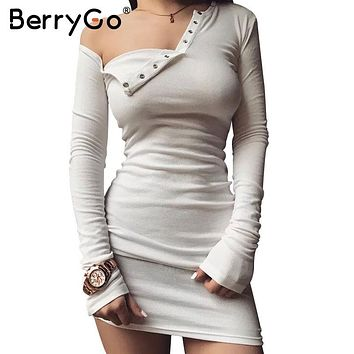 BerryGo Elegant off shoulder bodycon dress Long sleeve short evening party club white dress Women autumn winter black sexy dress