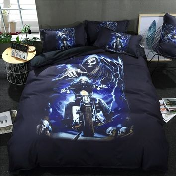 3D Skull Duvet Cover Set With Pillowcase Burning Flame motorcycle new fashion blue black Bedding Set Queen King Bed Linen 3/4pcs