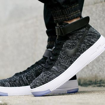 LMFON Nike Air Force 1 Flyknit Mid-High 817420-101 Grey For Women Men Sneakers