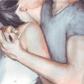 HM055 Original watercolor art of Embracing couple painting by Helga McLeod