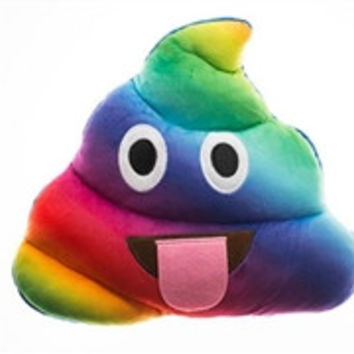Tie Dye Emoji Poop Pillow (Tongue)