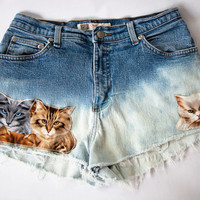 Vintage High Waist Blue Ombre Bleached Distressed Denim Cut Off Cat Shorts