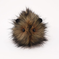 Reserved for David Beaver the Brown with Black tips Faux Fur Guinea Pig Plush Toy Stuffed Animal - 4x5 Inches Small Size