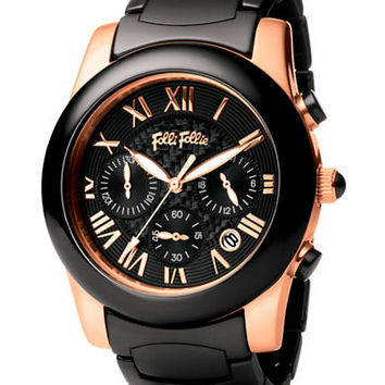 Folli Follie Ladies Classy Chic Black And Rose Gold Watch