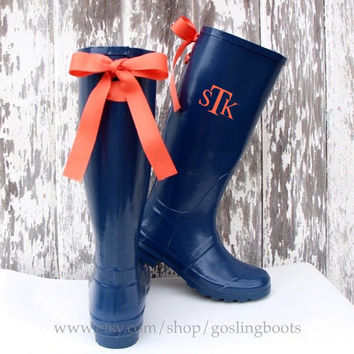Custom Monogrammed Navy Rain Boots with Coral Bows