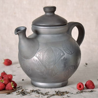 Handmade interesting unusual original ceramic kettle with lid home decor ideas