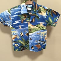 Vintage Kids Hawaiian Shirt, 18m Boys Vintage Shirt, Toddler Tropical Fish Shirt, Unisex Kids Vintage Shirt, Blue Short Sleeve Button Down S
