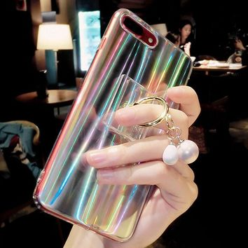 Laser iphone 7plus mobile phone case silicone and Bracket soft set with pearl iphone case transparent
