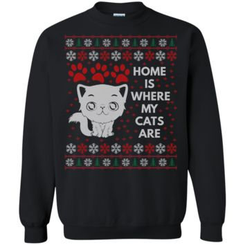 Home Is Where My Cats Are Funny Unique Cat Ugly Sweater Design Crewneck Pullover Sweatshirt