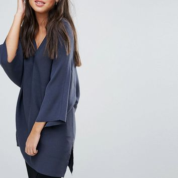 Selected Jika Long Knit V Neck Jumper at asos.com