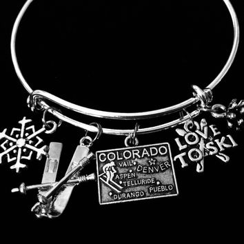 Love to Ski Colorado Jewelry Adjustable Charm Bracelet Silver Expandable Bangle Aspen Vail Denver One Size Fits All Gift