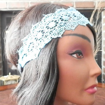 Crochet Floral Lace Headband, Lace hair bands, Hippie Headband, Boho Headbands, Crochet LACE head band, Pretty Lace, Elastica back headband