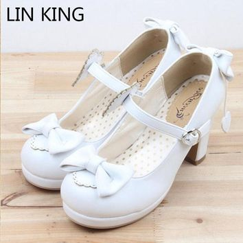LIN KING Girl Harajuku Lolita Pumps Patent Leather High Heels Solid Bowtie Maid Cosplay Shoes Sweet Women Mary Janes Party Shoes