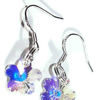 Crystal Clear AB Swarovski Crystal and Sterling Silver Flower Dangle Earrings