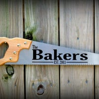 Personalized Wood Handsaw, Can be personalized for any surname, Makes a great Porch sign, family room decor, Garage sign, Father's Day Gift
