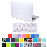 """HDE MacBook Pro 13"""" Retina Case Hard Shell Cover Rubberized Soft Touch + Keyboard Skin - Fits Model A1425 / A1502 (No CD Drive) (White)"""