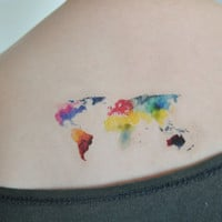 World Map Temporary Tattoo, Watercolor Art, Large Temporary Tattoo, Tattoo Temporary, Birthday Gifts Women, Gift Idea, Mothers Day