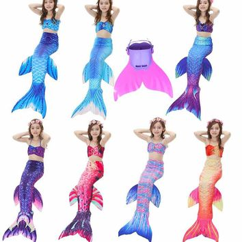 Kids Swimming Mermaid Tail with Monofin Swimsuit Costume Cosplay Clothing  Children Swimmable Mermaid Tails for Girls 4pcs/Set