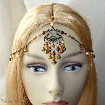 Boho Head Chain, 1920s Headdress, Flapper Style, Old Gold, Bronze, Glass Pearls, Antique Headpiece, Vintage Style, Bohemian, Cosplay, Larp